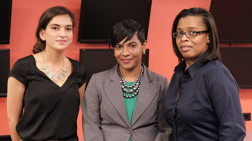 Student conference organizers (from left) Jestika Gajjar, Kerrine Nelson and Tracee Stewart joined industry leaders from across the country at the event, which focused on combating cyberattacks. (Photo by August Jennewein)