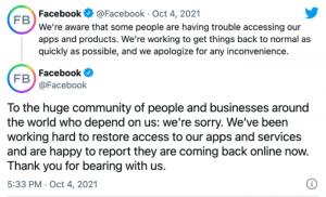 Facebook Response Tweet