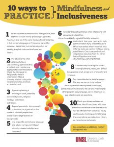 10 ways to practice mindfulness and inclusion (PDF)