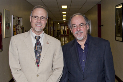UMSL Chancellor Tom George and conservative writer David Horowitz
