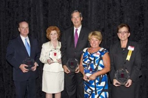 At the 20th Annual Founders Dinner Sept. 15, Distinguished Alumni Awards were presented to(l to r) John Nations, president and chief executive officer of Metro Transit; Susan Sander, vice president, Fringe Benefits Specialists, Inc.; Myles Kelly, principal, Edward Jones; Marianne Bergamini, community volunteer; Audrey Katcher, partner, RubinBrown LLP. p