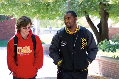 "UMSL freshmen Brian Pickens (left) and Nicholas ""Daniel"" Bolden"