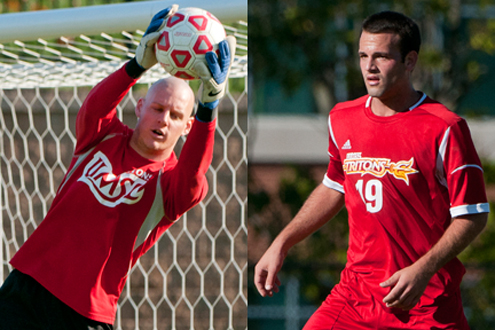 UMSL men's soccer players Patrick Ream (left) and Tony Auck