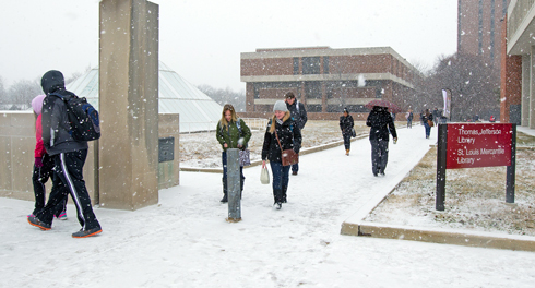Snow on UMSL's North Campus