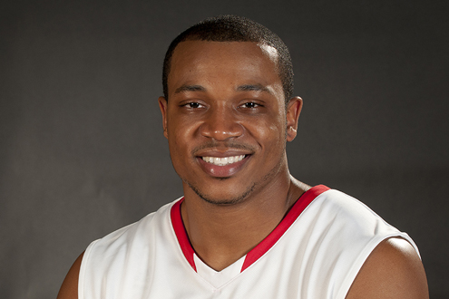 Darian Cartharn, junior guard on the UMSL men's basketball team