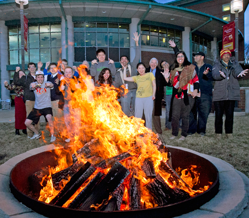 UMSL bonfire at sculpture unveil