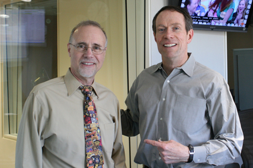UMSL Chancellor Tom George (left) and KMOX's Charlie Brennan
