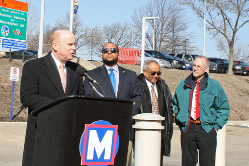 From left: John Nations, president and chief executive officer at Metro, William Ray, special assistant to St. Louis County Executive Charlie Dooley, Mokhtee Ahmad, regional administrator for Region 7 of U.S. Department of Transportation, and Chancellor Tom George of UMSL
