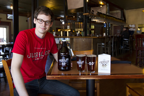 Charles Nowell, a junior majoring in art at UMSL, at Ferguson Brewing