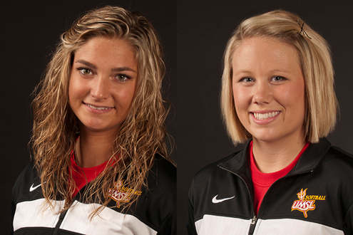 UMSL softball players Hannah Perryman (left) Haleigh Jenkins
