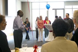 Benard Diggs, director of the Millennium Student Center at the University of Missouri–St. Louis, tells a story from his early days at UMSL 40 years ago. An anniversary party was held June 24 to honor Diggs who started working at UMSL as a custodian and is now working on his doctorate in higher education administration.