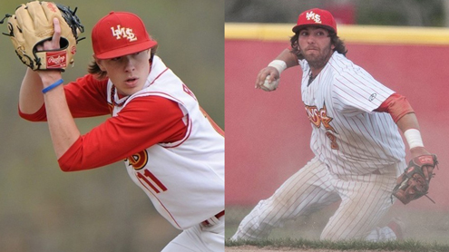 UMSL senior relief pitcher Kyle Renaud (left) and junior utility player Tyler Bunge