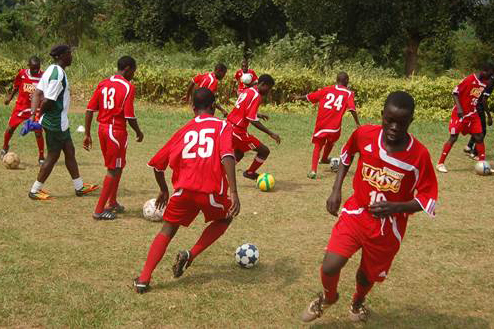Soccer players from Uganda wearing donated UMSL uniforms