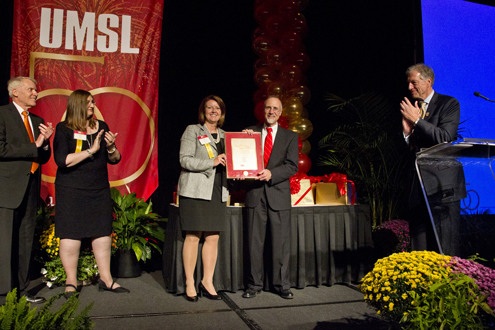Tom George honored at Founders Dinner for 10 years as UMSL's chancellor