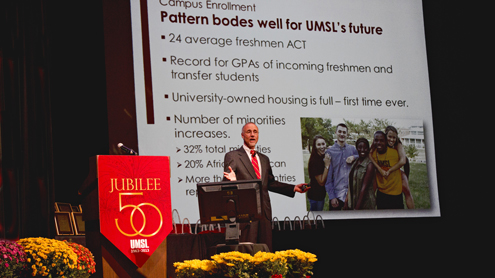 UMSL Chancellor Tom George discusses enrollment during his 2013 State of the University Address