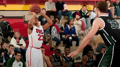 Aareon Smith, junior on the UMSL Tritons men's basketball team