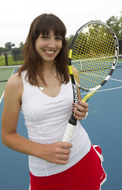 Louisa Werner, a senior finance and international business major and women's tennis player at UMSL