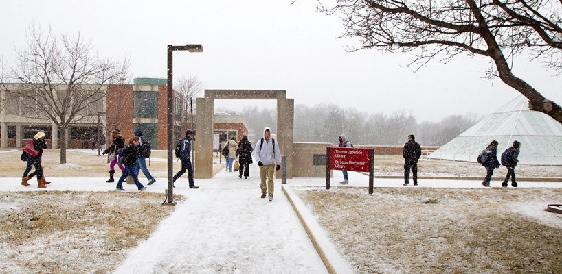 UMSL students in the snow