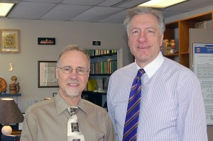 Chancellor Tom George (left) and Martin Leifeld, vice chancellor for University Advancement,