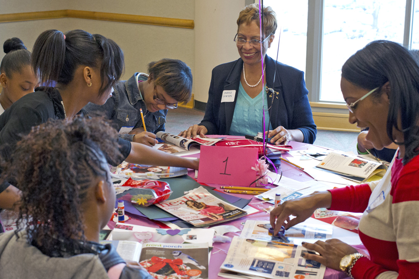 Brenda Stith Loftin (center) at the 2014 Girls Summit Jan. 31 at UMSL