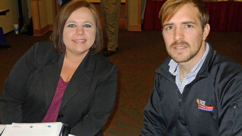 UMSL alumnua Danielle Spiekerman, BSBA 2001, a human resources manager for SSM Health Care, and Ryan Barrett, interim director of UMSL's Veterans Center and a doctoral student in political science,