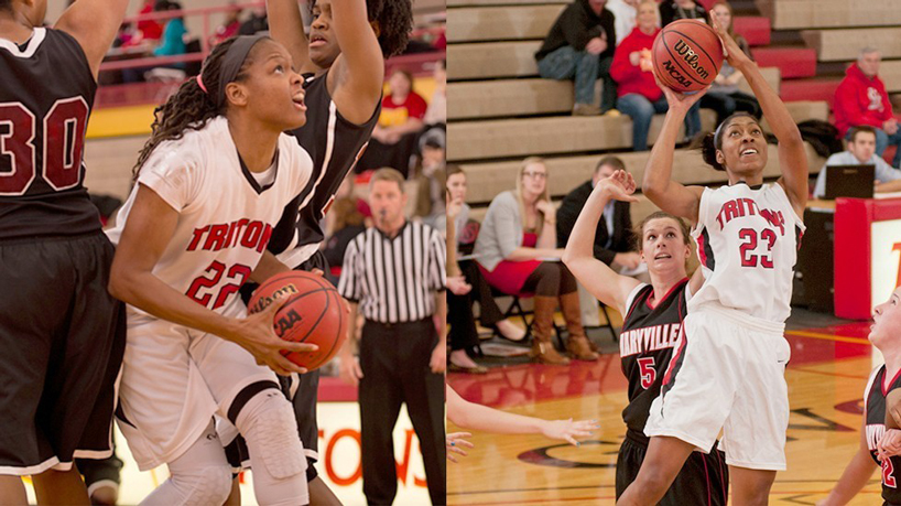 UMSL seniors Devonna Smith (22) and Hazaria Washington