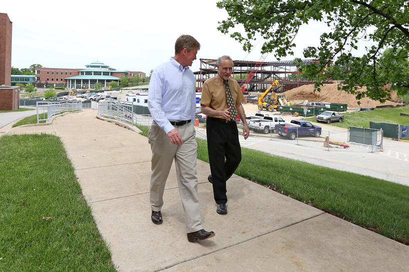 Missouri Attorney General Chris Koster received an up-close look at the University of Missouri–St. Louis campus during a half-day visit May 22 with Chancellor Tom George.