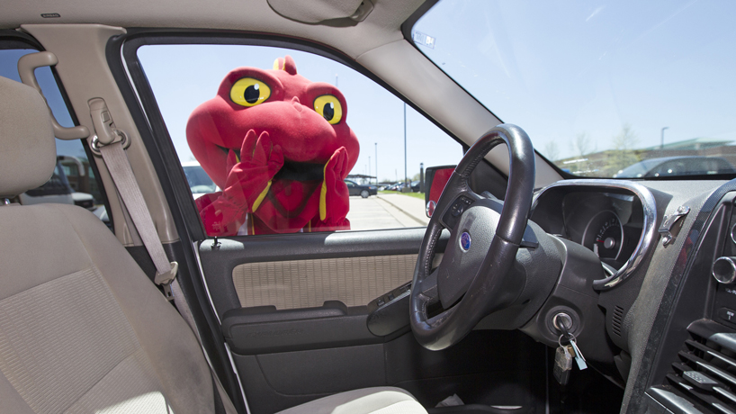 Mascot Louie, students star in campus safety video