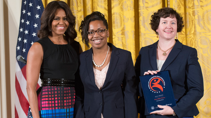 Michelle Obama honors museum studies alumna