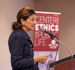 Olympia Snowe speaking at UMSL