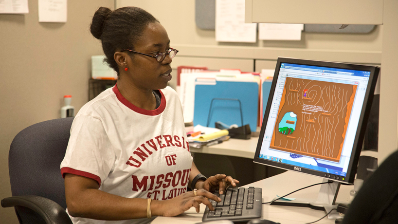 Alexius Gandy, , a business administration senior at UMSL, participated in the annual Global Game Jam. (Photo by August Jennewein)