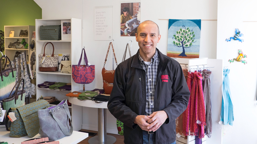 UMSL PMBA alumnus Julio Zegarra-Ballon opened Zee Bee Market, a fair trade store on South Grand Blvd. (Photo by August Jennewein)