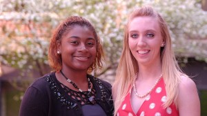 Briona Perry (left) and Elle Fitzpatrick are the first students to graduate from the Opportunity Scholars Program, which Emerson spurred the creation of with a lead gift. (Photo by August Jennewein)