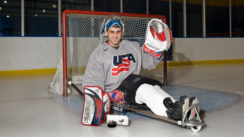 UMSL business student Steve Cash has served as the United States sled hockey goalie for almost 10 years. (Photo by August Jennewein)