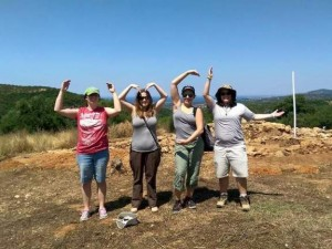 Under the guidance of Cosmopoulos in the summer of 2015, senior anthropology major Corri Mader (second from left) expanded her archaeological skills alongside fellow UMSL students. (Photo courtesy of Corri Mader)