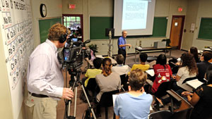 KETC captures UMSL Chancellor Tom George lecturing to STARS students.