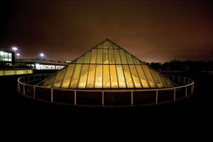 The glass pyramid that stands above the St. Louis Mercantile Library is part of a 1980s expansion of the Thomas Jefferson Library partially funded by Emerson.