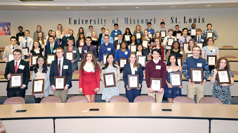 More than 50 of the region's best junior-level high school science students received the Distinguished Achievement Award for Excellence in Science from UMSL's College of Arts and Sciences. (Photo by August Jennewein)