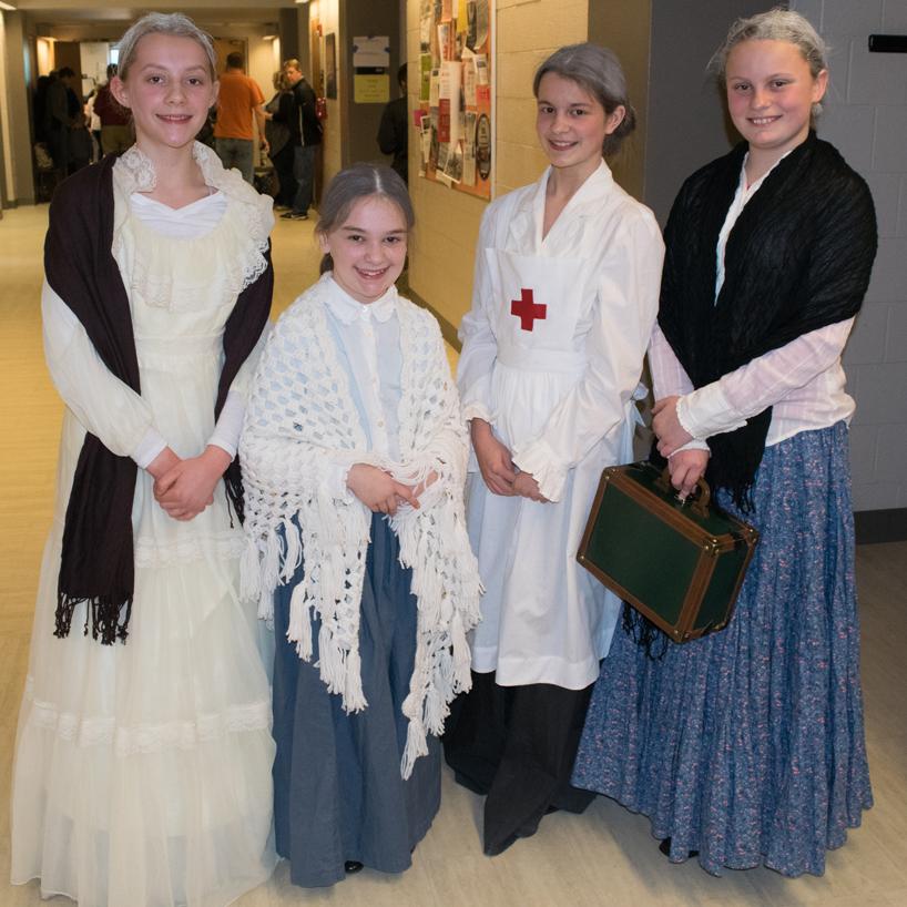 Classmates in costume
