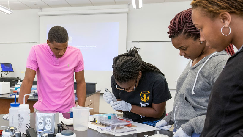 Jennings High School students (from left to right) Trevor Gillespie, Paris Siggers and Angel Cole wrap up their last week in the UMSL and Project Lead The Way summer intern program running extracting DNA from avian blood samples and running PCR to see if the malaria parasites is present. (Photo by August Jennewein)
