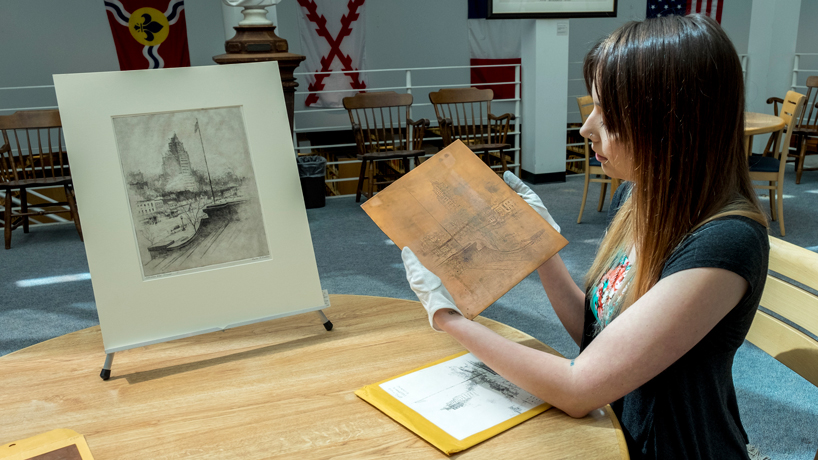 Studio art major's printmaking expertise comes in handy during grant-funded Mercantile Library internship