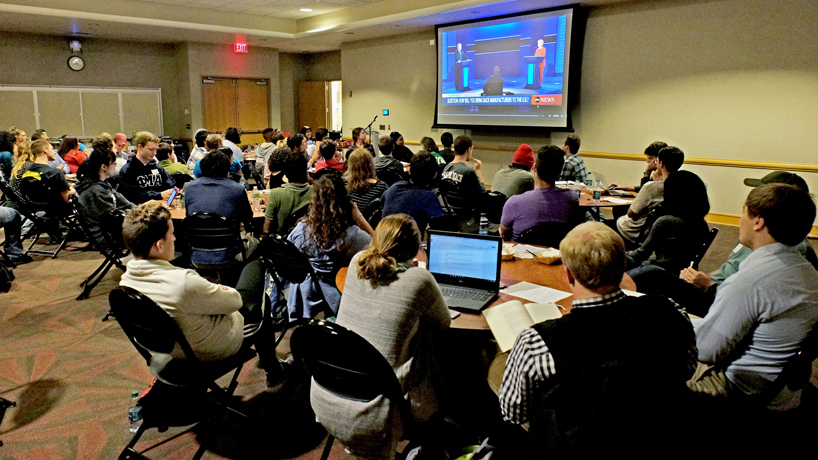 Year's first presidential debate attracts large audience at student center, as across the country