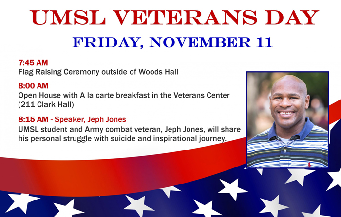 Jeph Jones will be a featured speaker at the UMSL Veterans Day celebration on Nov. 11.