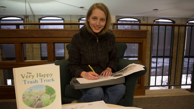 A colorful mix: Biology student, artist illustrates 'The Very Happy Trash Truck'