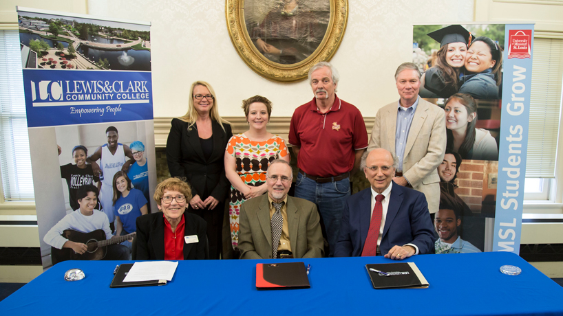 UMSL, Lewis & Clark sign transfer agreement benefiting criminology students