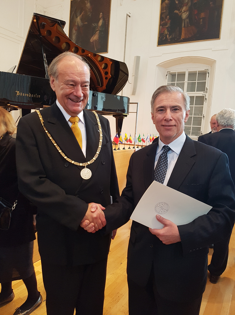 Michael Cosmopoulos with European Academy of Sciences and Arts president