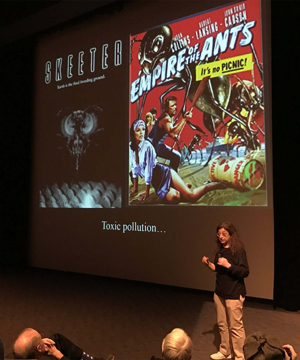 """Skeeter"" and ""Empire of the Ants"" were two of more than a dozen environmental disaster films with which Berenbaum opened her lecture. Both flicks are about giant mutant insects taking over, but Berenbaum said the inverse story, where humans drive insect extinction, is not so commonly depicted in Hollywood."