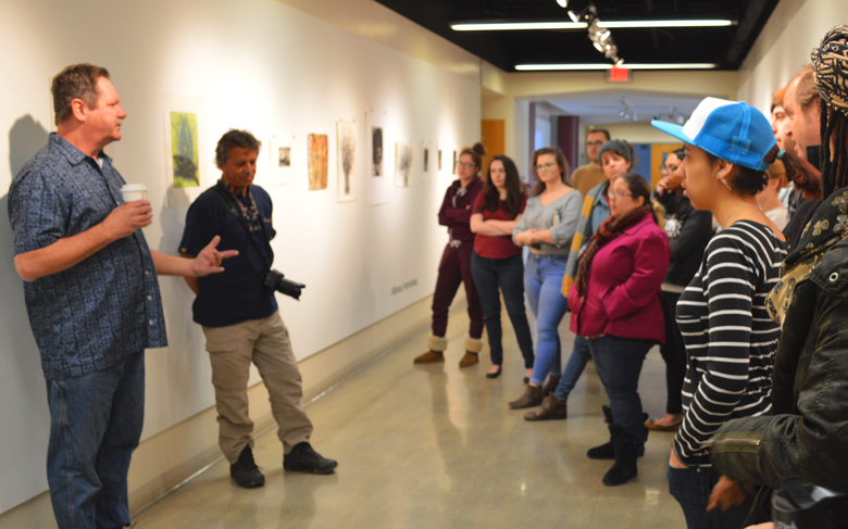 Jeff Sippel, guest artist and crowd during gallery talk