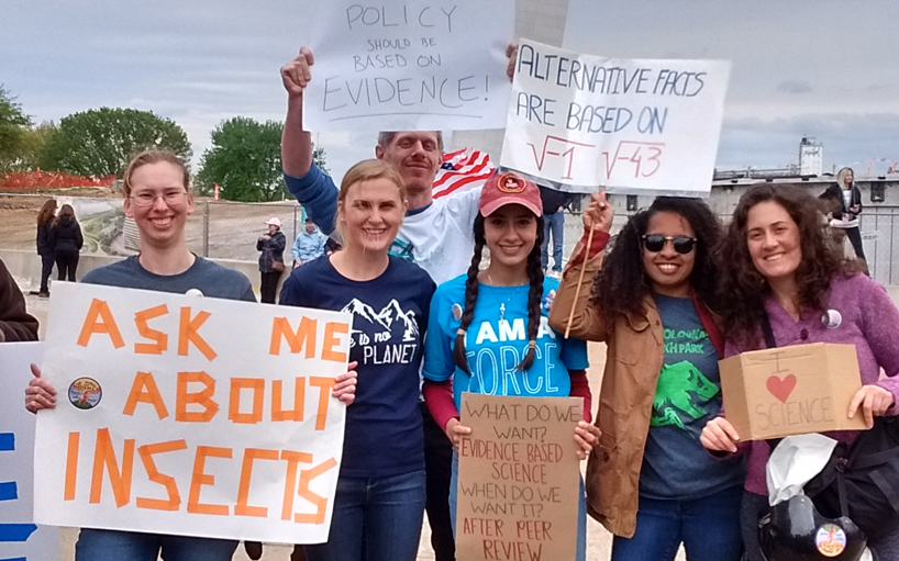 (From left) Christina Baer, Sage Rohrer, Robbie Hart, Sara Ricárdez, Samoa Asigau and Mari Jaramillo represent the UMSL Department of Biology at the March for Science on Earth Day, April 22. (Photo courtesy of Mari Jaramillo)