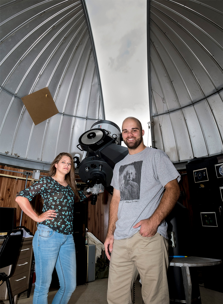 The Meade LX-200 16 inch telescope was gifted to the university in 2011 upon the death of Professor Emeritus Richard Schwartz, who originally established the observatory at UMSL in 1981. His 16-inch telescope was a huge update from the previous 14-inch that had occupied the observatory, which continues to be used for class observations, public open houses and private showings.
